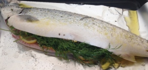sea trout with lemon, lemon thyme and dill